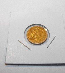 11: 1913 $ 2.5 Gold Indian Coin - XF Plus - Near AU