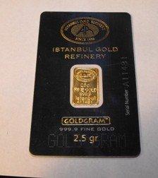 12: 2.5 Gram Istanbull Turkish Ingot on Assayers Card