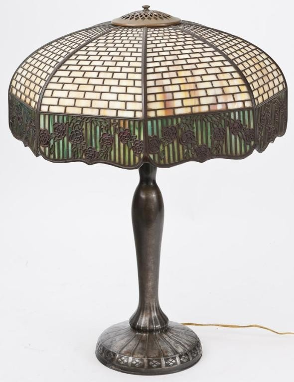 2A: Signed HANDEL Leaded Glass Lamp