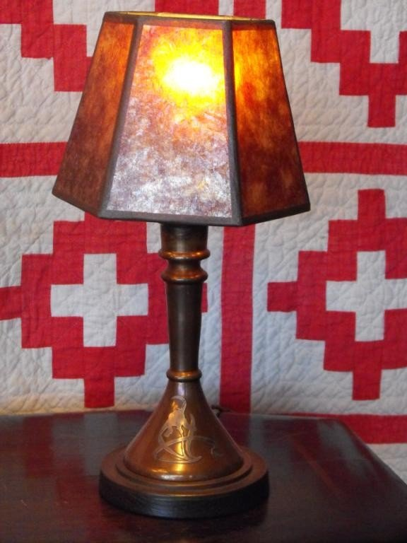 2C: Heintz Sterling Overlay Copper Lamp w/ Mica Shade