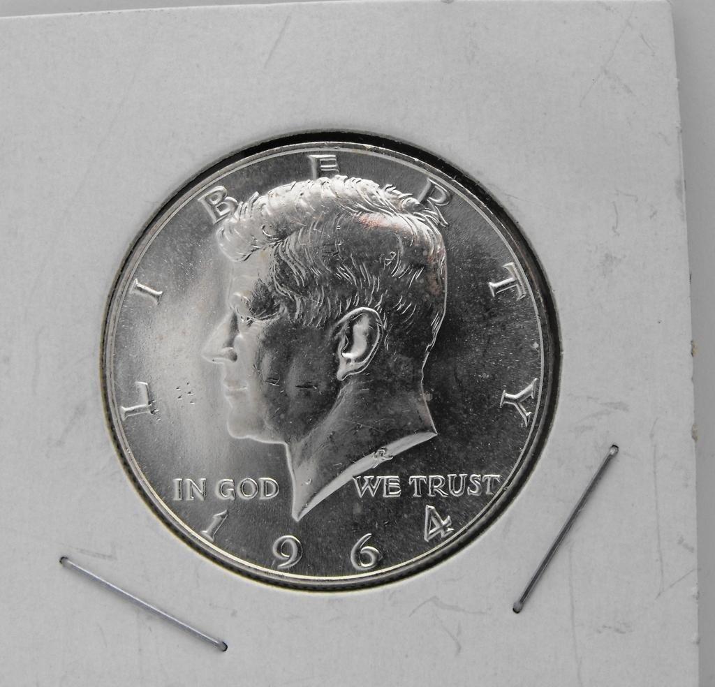 45: 1964 GEM BU PL Kennedy Half Dollar