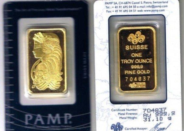 44P: 1oz Pamp Suisse Gold Ingot on Assay Card