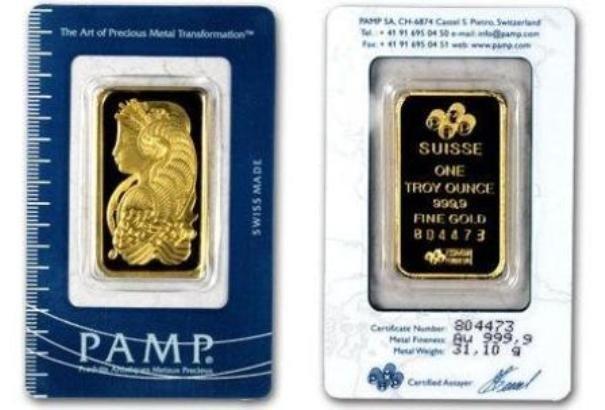 47P: 1 oz Pamp Suisse Gold Ingot on Assay Card