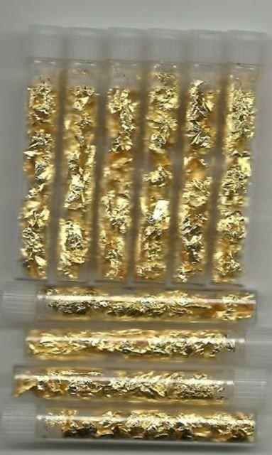373O: 10 Gold Leaf Flake In Vial- Non Bullion