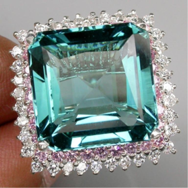 12Z: 70.75 CT. SILVER 925 RING GREEN BLUE Sapphire