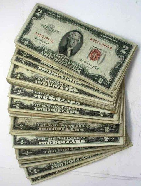 1C: Lot of 50 Red Seal $ 2 Bills VG Grade