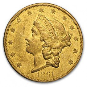 1861-O $20 Gold Liberty Double Eagle - PCGS AU 55