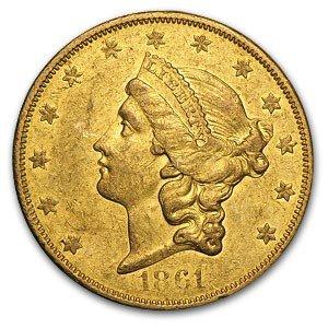1D: 1861-O $20 Gold Liberty Double Eagle - PCGS AU 55