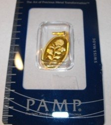 1: 2.5 Gram Pamp Suisse Pendant on Assay Card