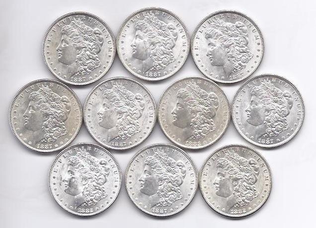 1B: Lot of (10) BU Morgan Silver Dollars