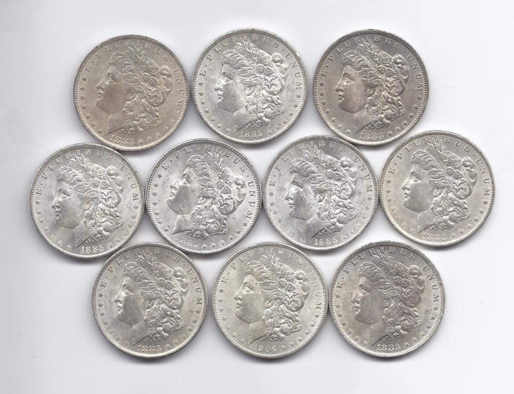 2B: (10) Brilliant Uncirculated Morgan Dollars