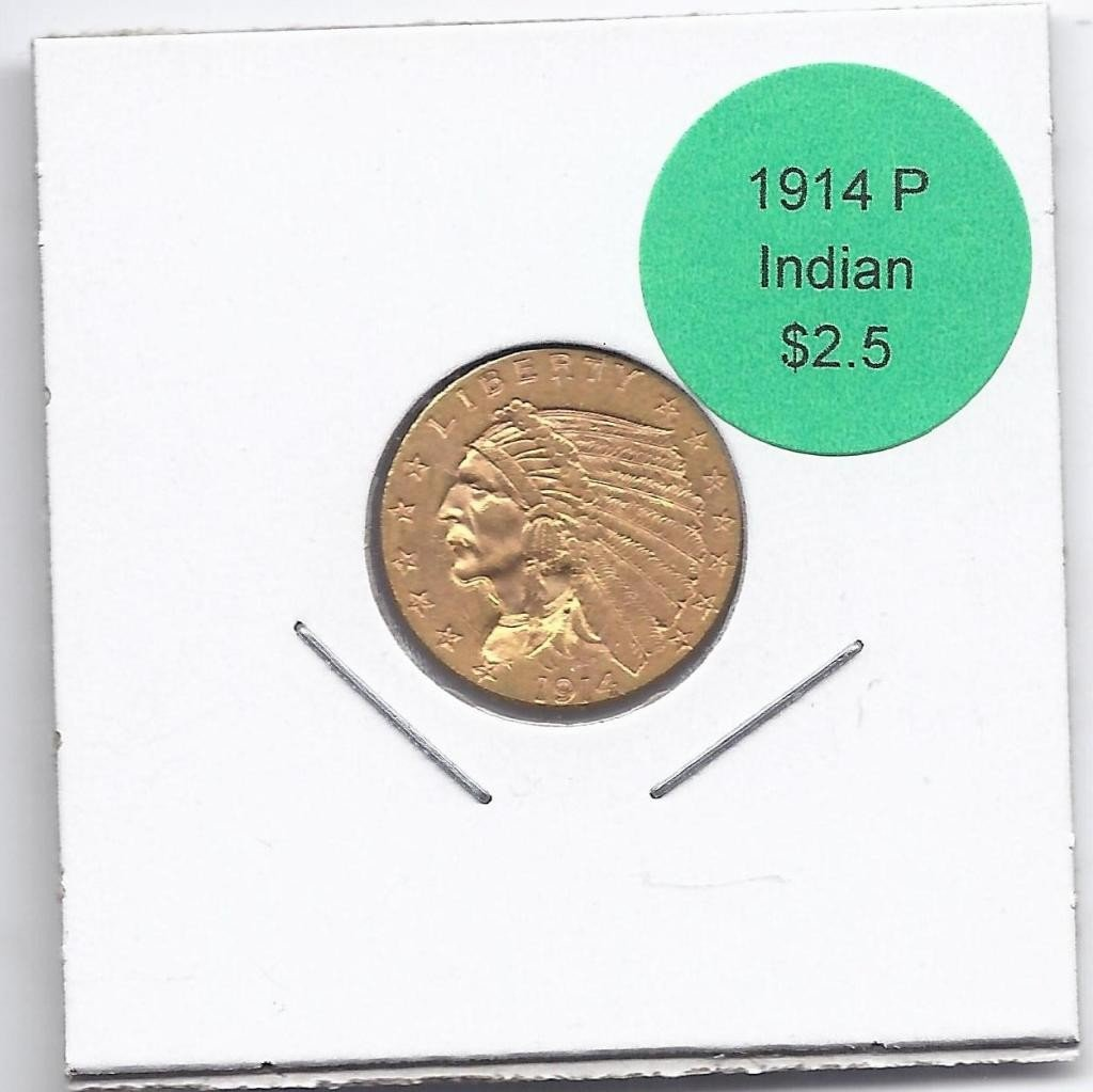 3A: 1914 P $ 2.5 Gold Indian Coin