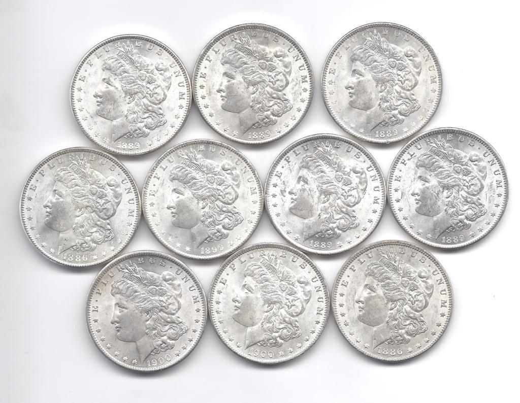 5B: (10) Brilliant Uncirculated  P Mint Morgans