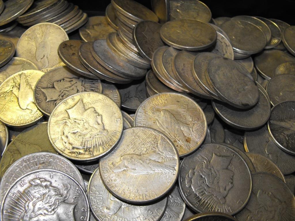 16C: Lot of 100 Peace Dollars ag-au