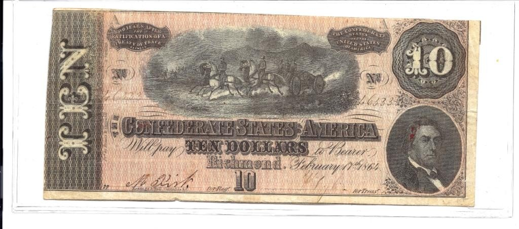 1A: $10 Confederate Currency