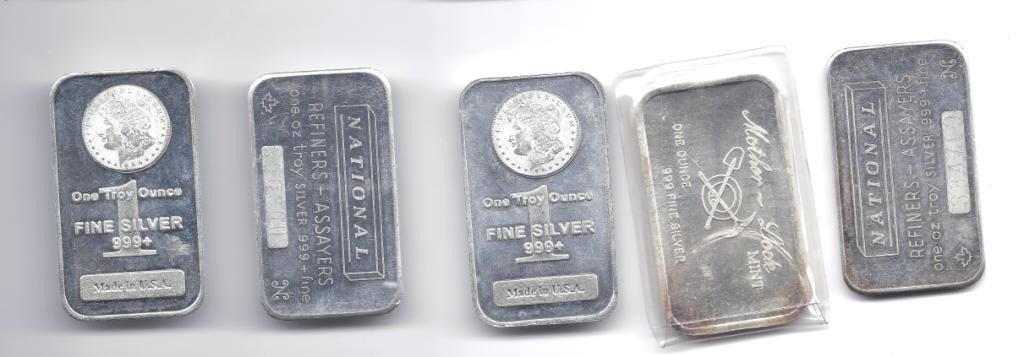 1N: Lot of (5) 1 oz. Pure Silver Bars