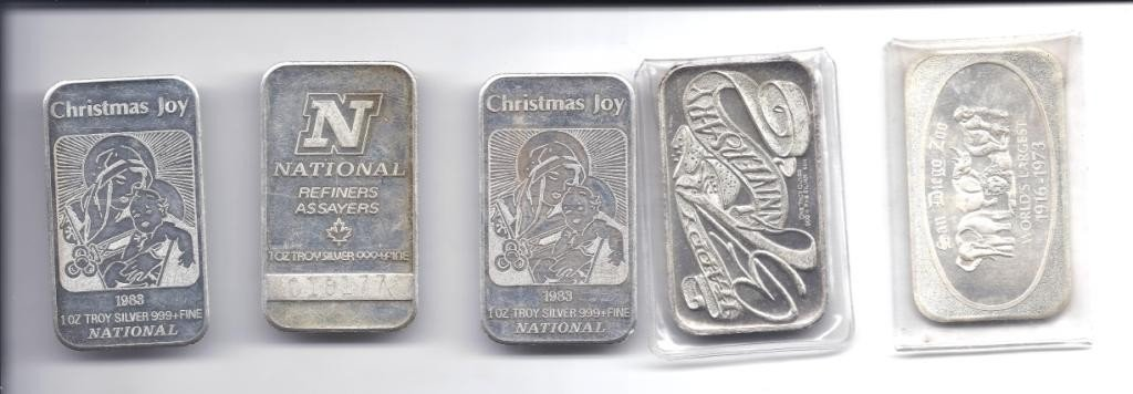 2N: Lot of (5) 1 Oz. SIlver Bullion Bars