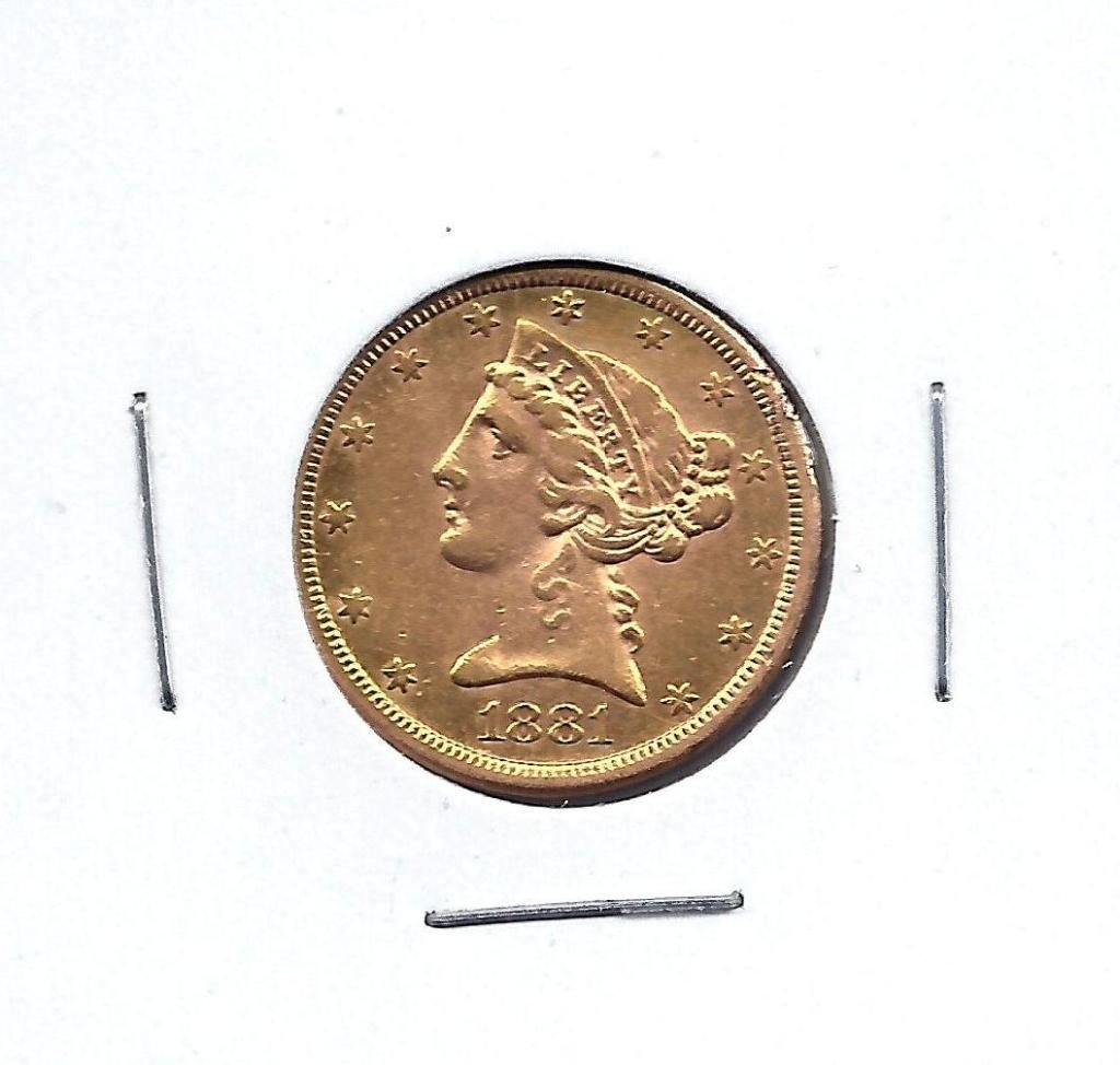 3B: 1881 S $ 5 Gold Liberty Coin