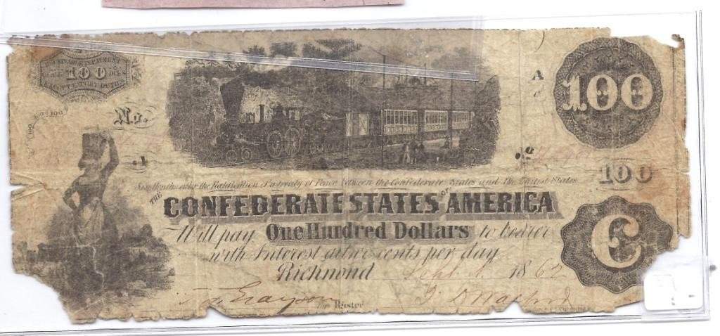 6A: $100 Confederate Currency - Low Grade