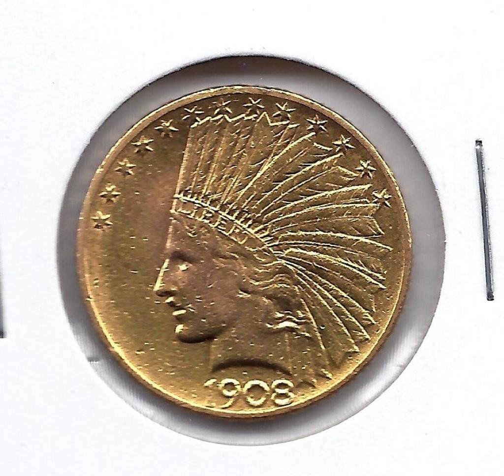 6B: 1908 P $ 10 Gold Indian Coin