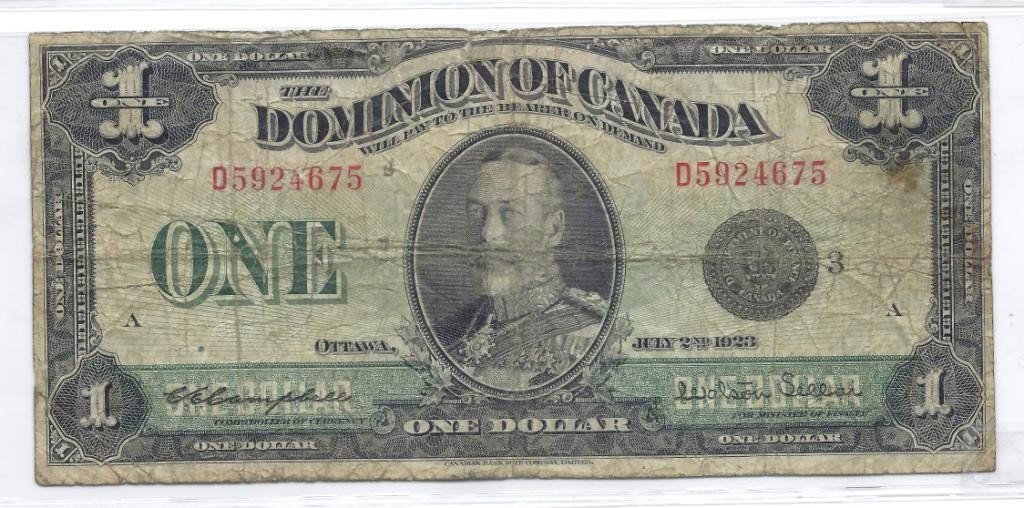 8A: 1923 Canadian $1 Currency