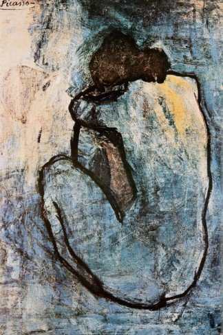 1P: Blue Nude,  by Pablo Picasso Art print 24 x 36 in
