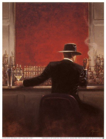 10P: Cigar Bar  by Brent Lynch Art print 6.5 x 8.5 in