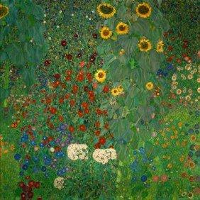 Farm Garden With Sunflowers,by Gustav Klimt Art Pr