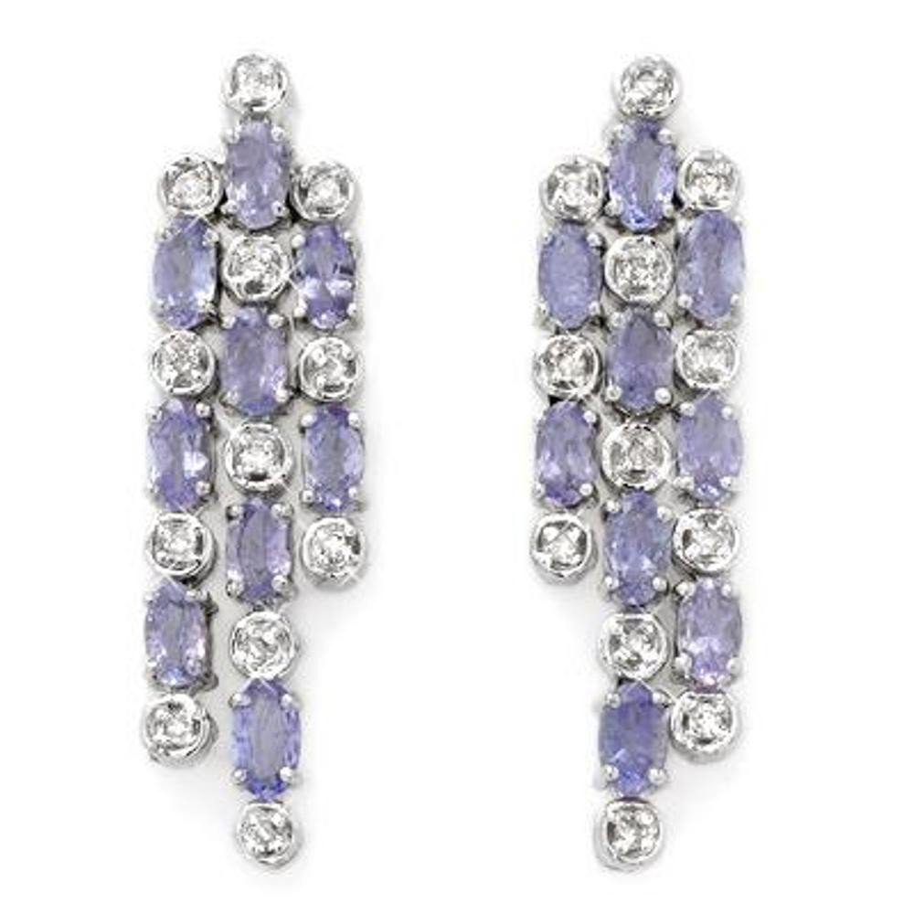 2J: Genuine 4.33 ctw Tanzanite & Diamond Earrings 14K G