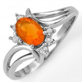 Genuine 0.50ctw Fire Opal & Diamond Ring 10K White