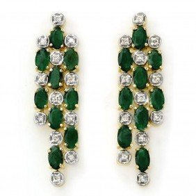 Genuine 4.03 Ctw Emerald & Diamond Earrings Yellow