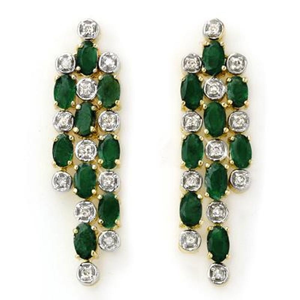 8J: Genuine 4.03 ctw Emerald & Diamond Earrings Yellow