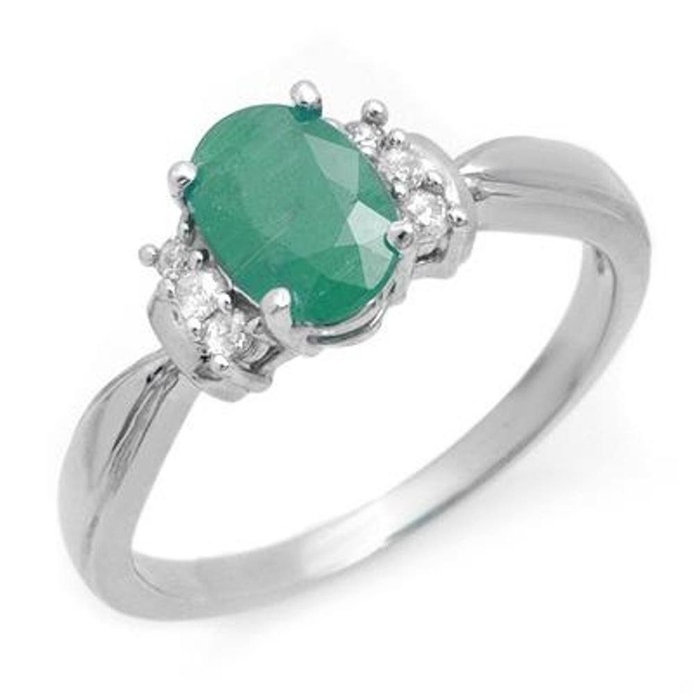 9J: Genuine 0.96 ctw Emerald & Diamond Ring 10K White G