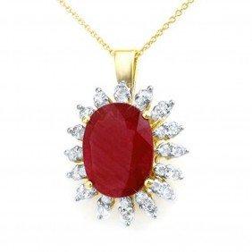 Genuine 8.25 Ctw Ruby & Diamond Pendant Yellow Gol
