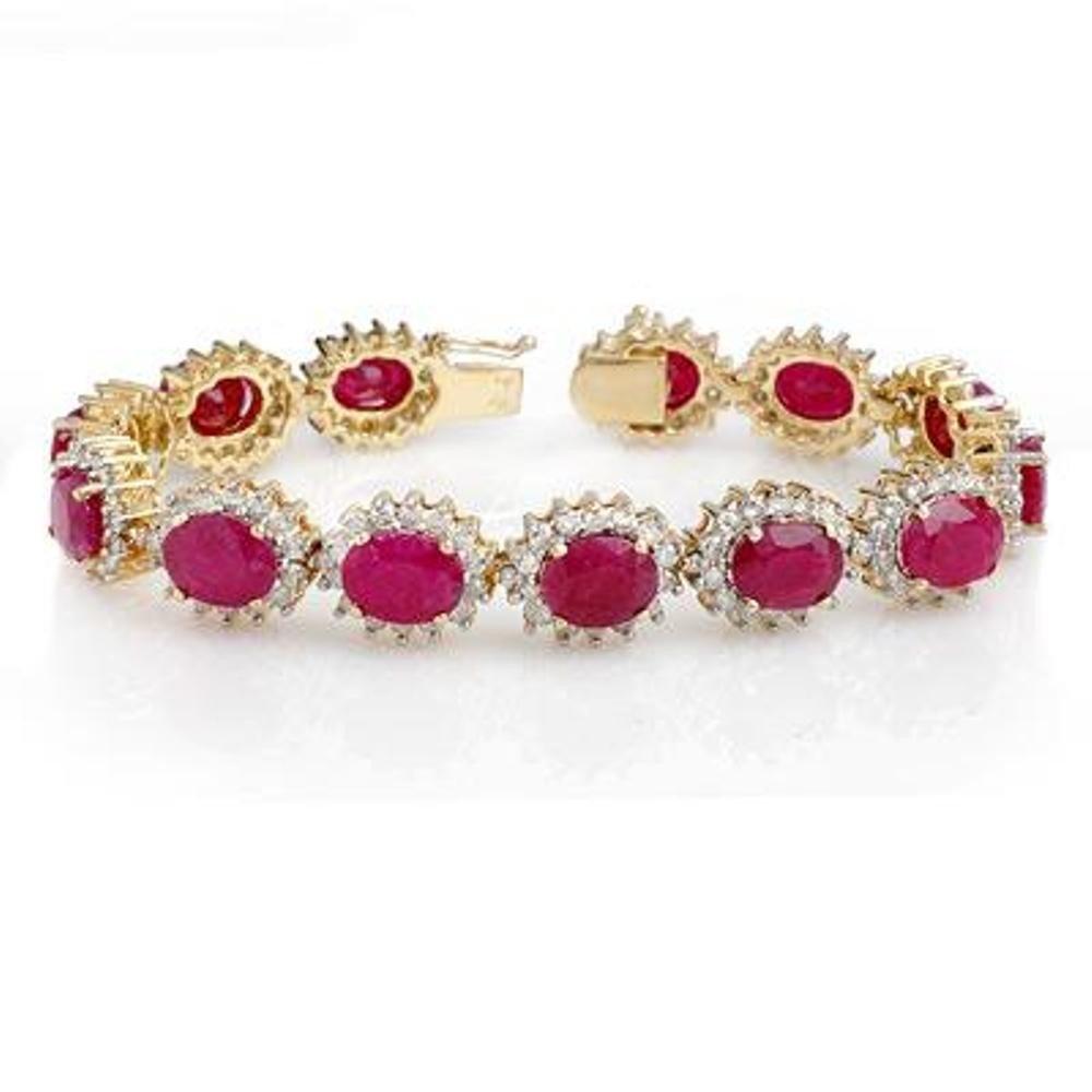 15J: Genuine 42.12 ctw Ruby & Diamond Bracelet Yellow G