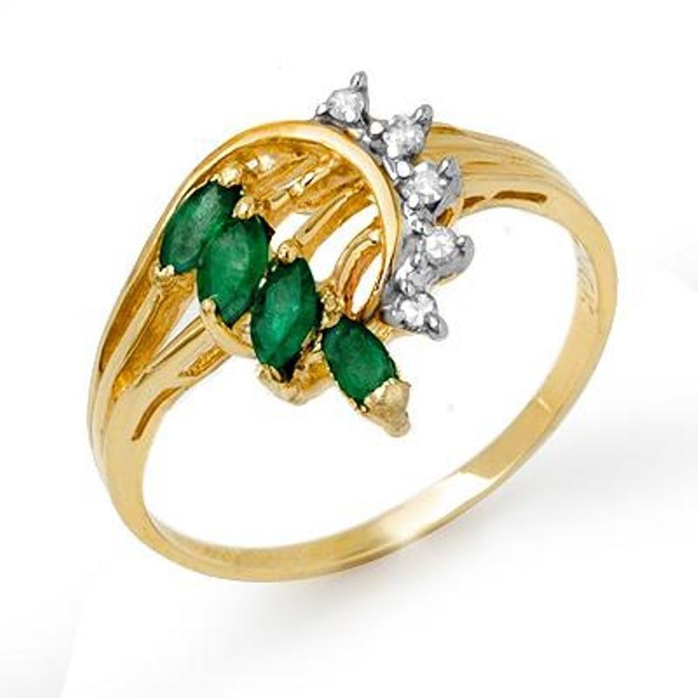 17J: Genuine 0.55 ctw Emerald & Diamond Ring 10K Yellow