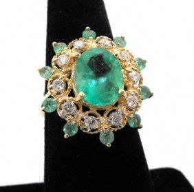 $14,249 Appraised Emerald & Diamond Ring