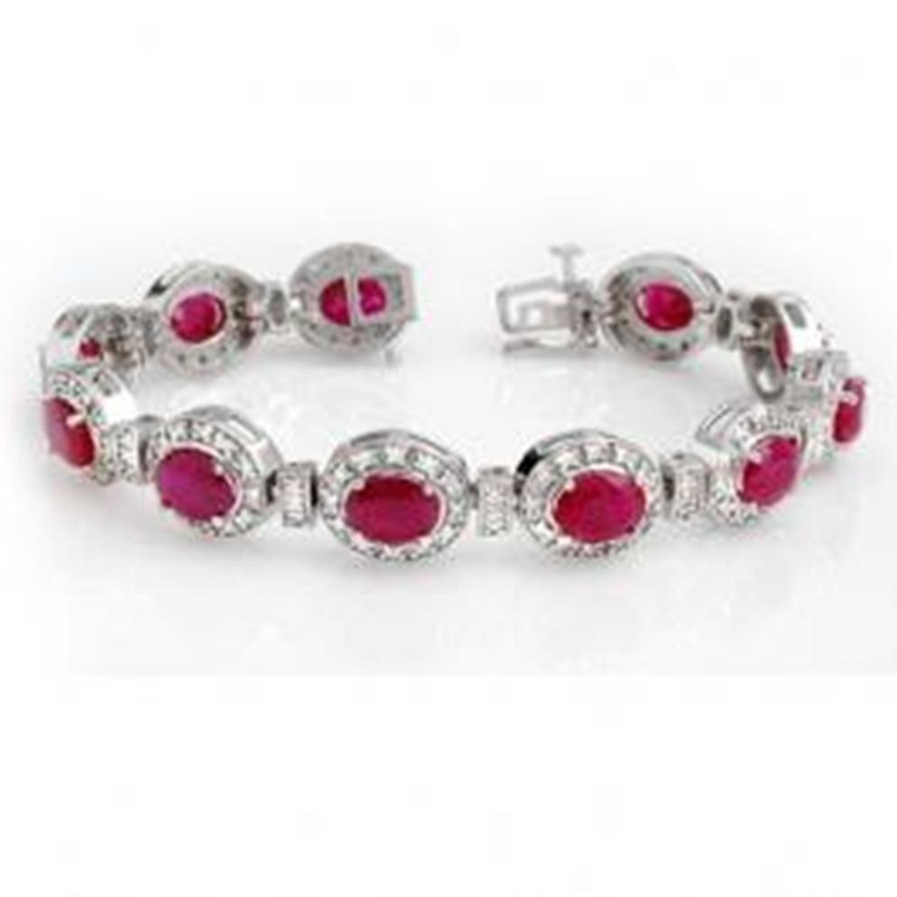 14W: 16.0 ctw Ruby & Diamond Bracelet 14K