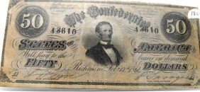 Excellent 1864 $ 50 Confederate States Note