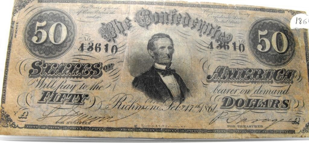 26: Excellent 1864 $ 50 Confederate States Note