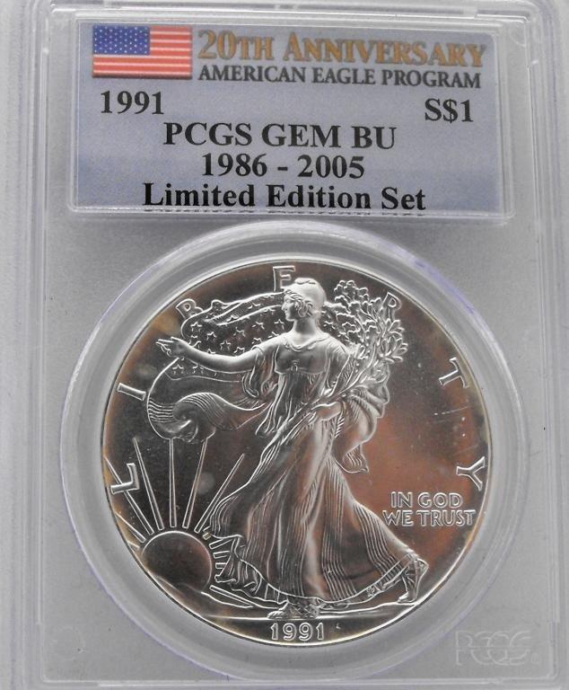 28: 1991 GEM BU PCGS 20th Anniv. Silver Eagle