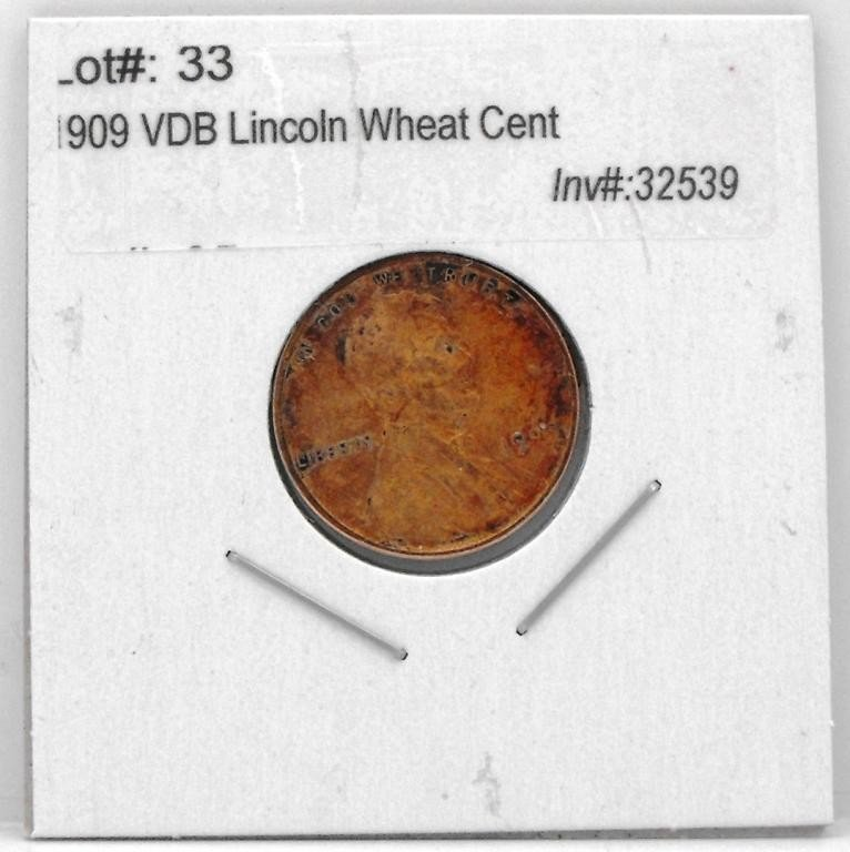 33T: 1909 VDB Lincoln Wheat Cent