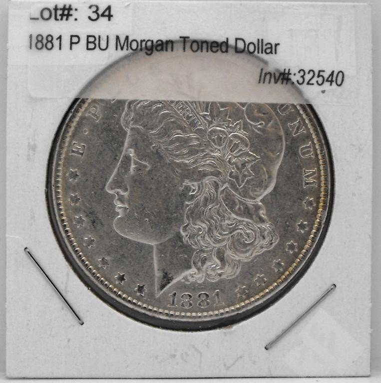 34T: 1881 P BU Morgan Toned Dollar