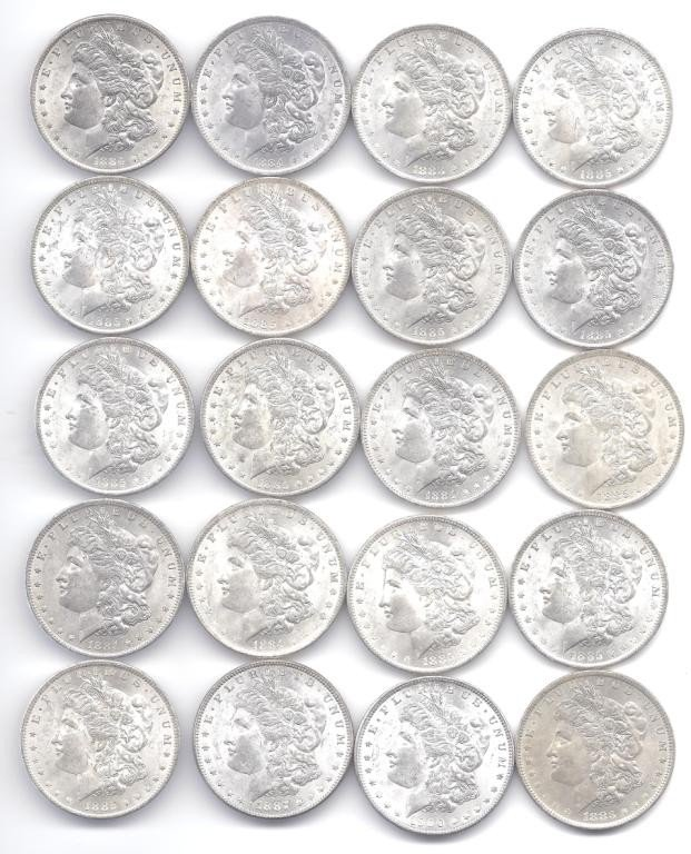 10B: (20) Brilliant Uncirculated O Mint Morgans
