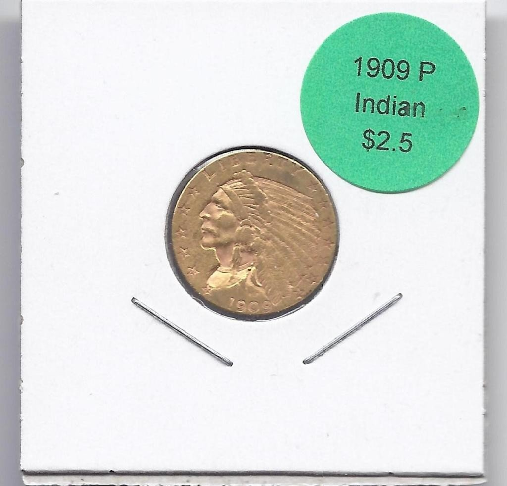 11A: 1909 P $ 2.5 Gold Indian