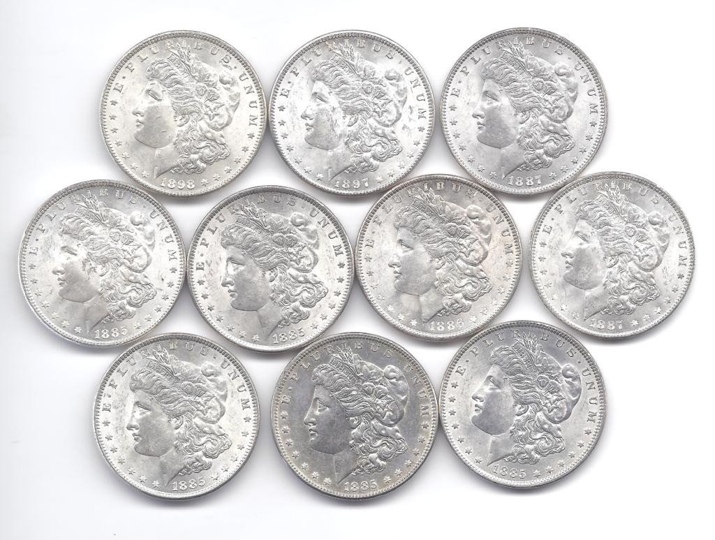 11B: (10) Brilliant Uncirculated P Mint Morgans