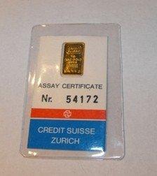 12C: 1 Gram Credit Suisse Gold Ingot 999.9 Pure