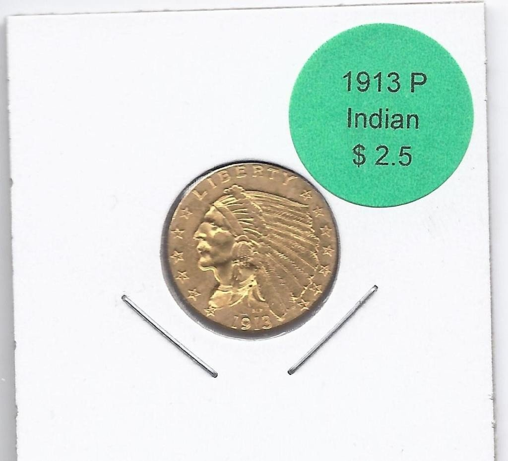 15A: 1913 P $ 2.5 Gold Indian