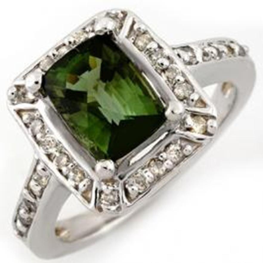 56W: 2.40ct Green Tourmaline & Diamond Ring