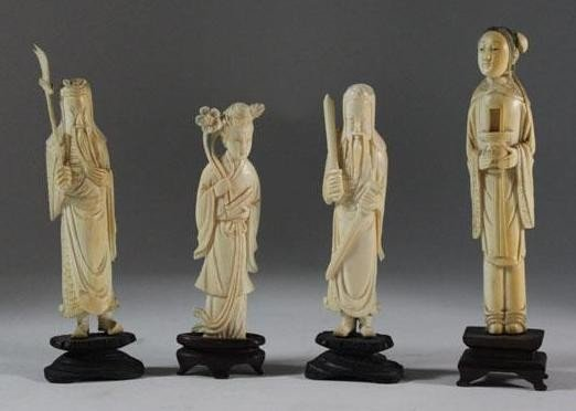 1: (4) Antique Hand Carved Ivory Sculptures